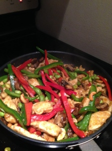 Cashew chicken veg in pan